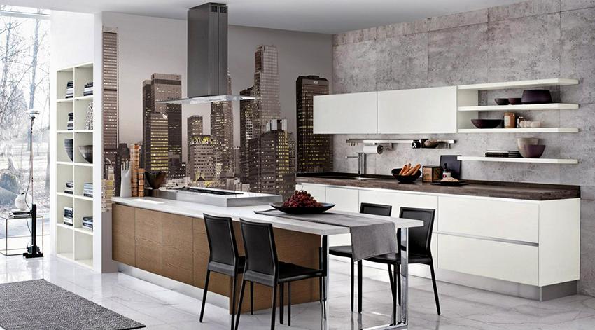 Фотообои на кухню: как выигрышно обыграть интерьер в капризном помещении
