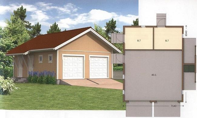 Проекты гаража с хозблоком: чертежи и эскизы с размерами, варианты конструкций и материалов