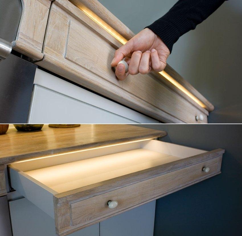Светодиодная подсветка для кухни под шкафы: особенности выбора и монтажа