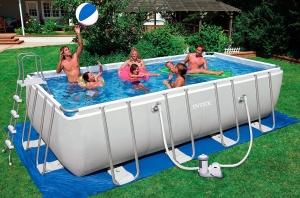 Установка каркасного бассейна Metal Frame Pool для дачи своими руками, видео
