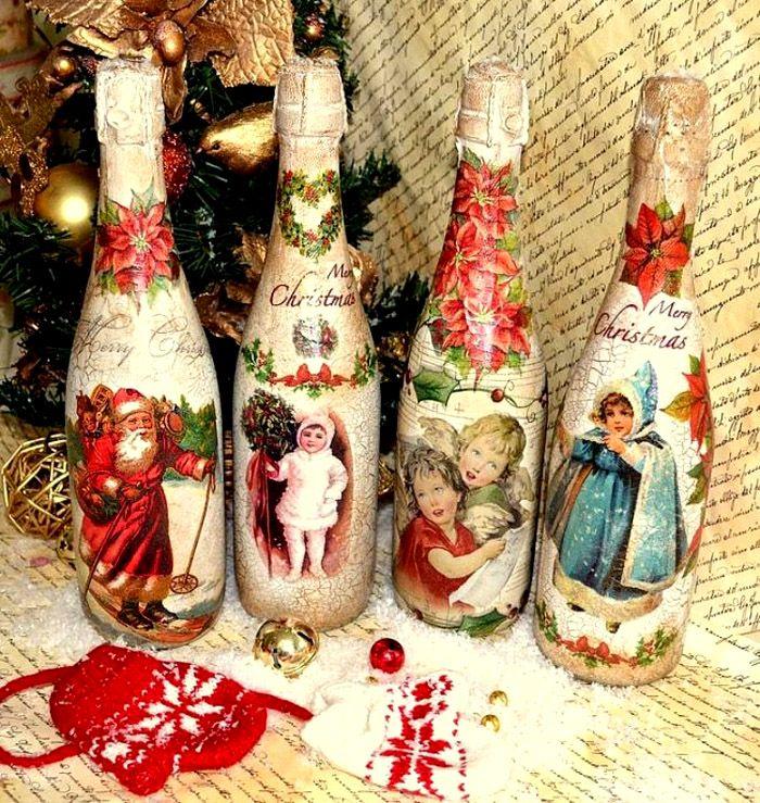 🍾 Как украсить бутылку шампанского на Новый год своими руками: варианты декора