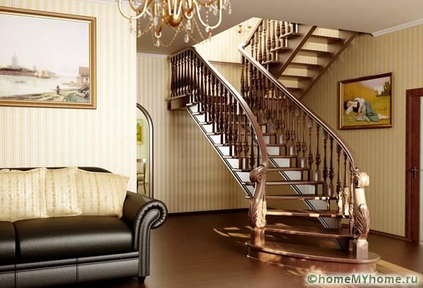 Лестница на второй этаж своими руками из дерева с поворотом на 90